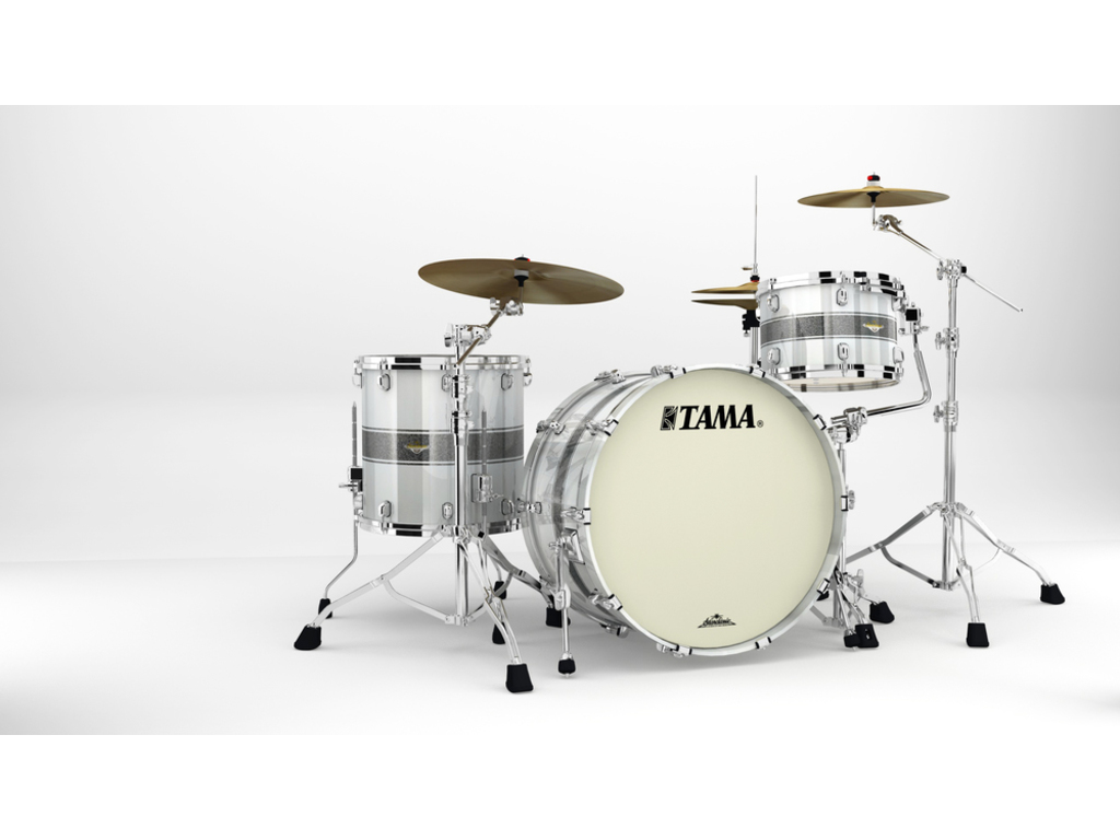 "Shell Set Tama Starclassic Maple MA34CZS-SSR Silver Snow Racing Stripe, 24"", 13"", 16"", Chrome Hardware"
