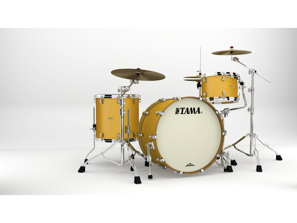 "Shell Set Tama Starclassic Maple MA34CZS-SAM Satin Aztec Gold Metallic, 24"", 13"", 16"", Chrome Hardware"