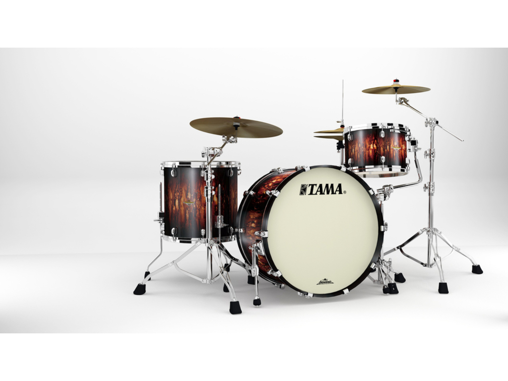 "Shell Set Tama Starclassic Maple MA34CZS-MBB Molten Satin Brown Burst, 24"", 13"", 16"", Chrome Hardware"