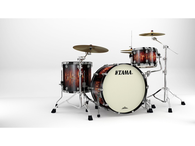 "Shell Set Tama Starclassic Maple MA34CZBNS-MBB Molten Satin Brown Burst, 24"", 13"", 16"", Zwart Nikkel Hardware"