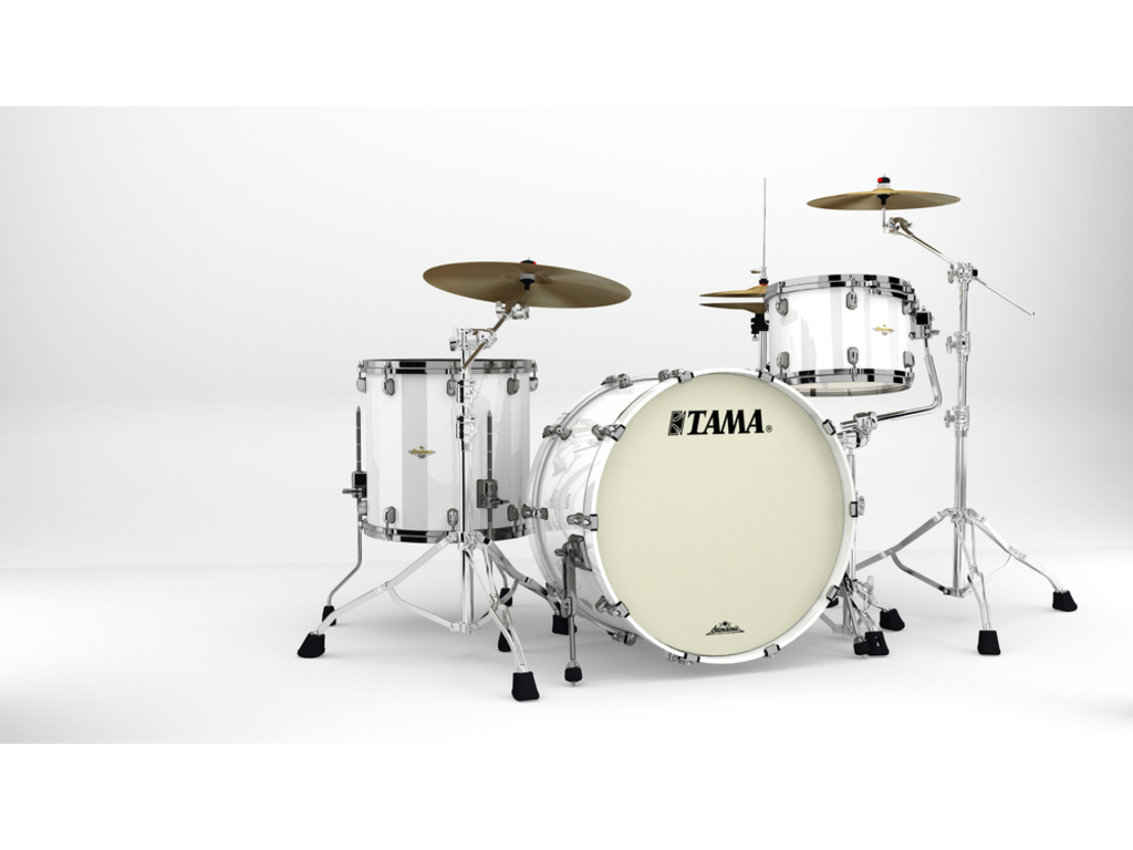 "Shell Set Tama Starclassic Maple MA34CZBNS-PWH Piano White, 24"", 13"", 16"", Zwart Nikkel Hardware"