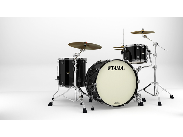 "Shell Set Tama Starclassic Maple MA34CZBNS-PBK Piano Black, 24"", 13"", 16"", Zwart Nikkel Hardware"