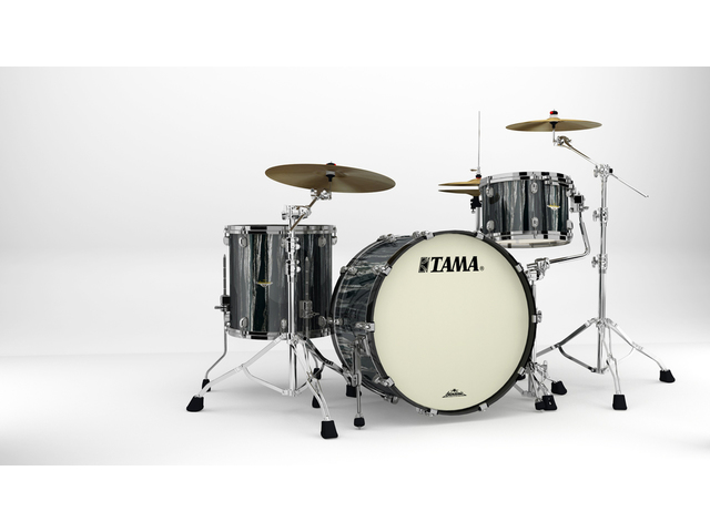 "Shell Set Tama Starclassic Maple MA34CZBNS-BCS Black Clouds & Silver Linings, 24"", 13"", 16"", Zwart Nikkel Hardware"