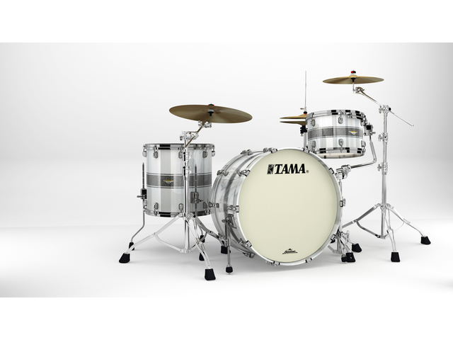 "Shell Set Tama Starclassic Maple MA34CZBNS-SSR Silver Snow Racing Stripe, 24"", 13"", 16"", Zwart Nikkel Hardware"