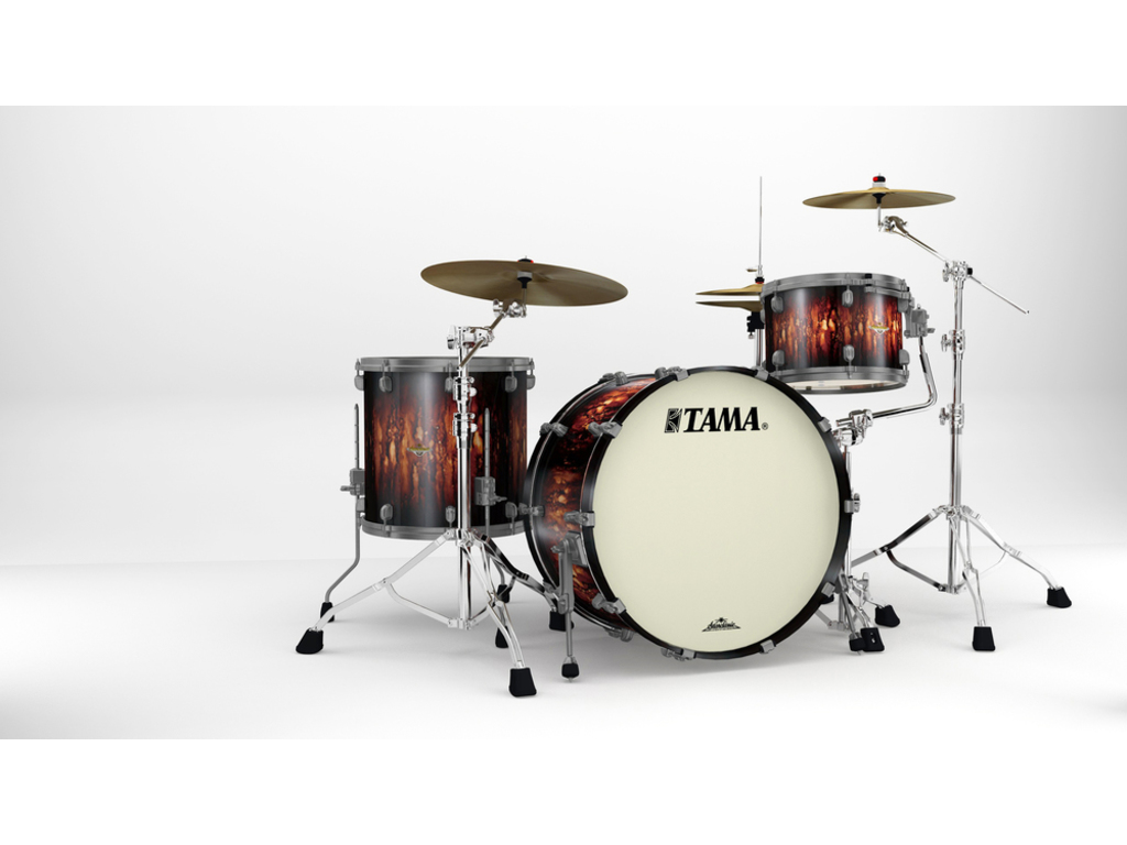 "Shell Set Tama Starclassic Maple MA34CZUS-MBB Molten Satin Brown Burst, 24"", 13"", 16"", Smoked Zwart Nikkel Hardware"