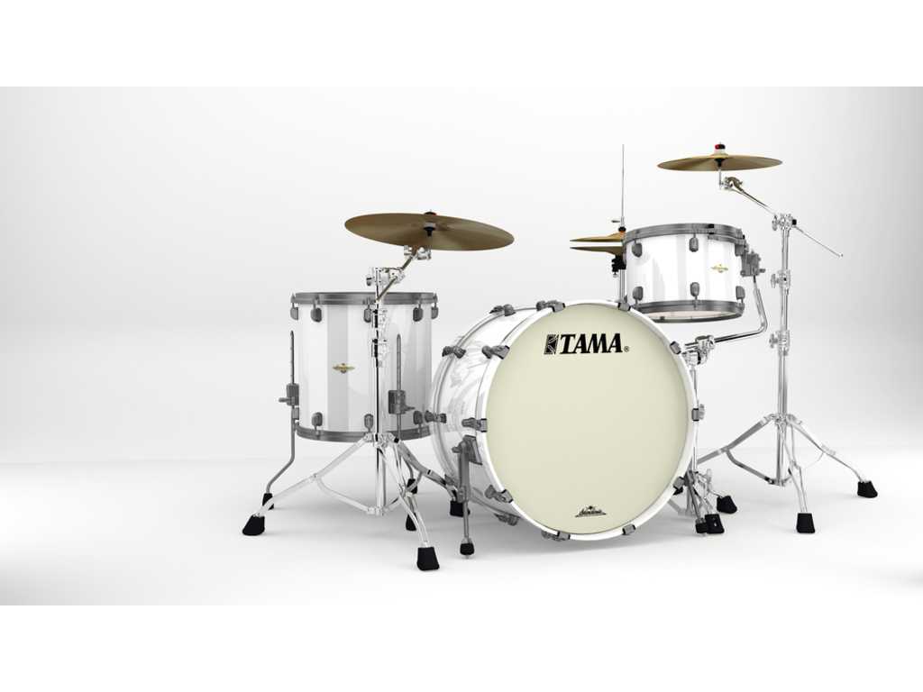 "Shell Set Tama Starclassic Maple MA34CZUS-PWH Piano White, 24"", 13"", 16"", Smoked Zwart Nikkel Hardware"