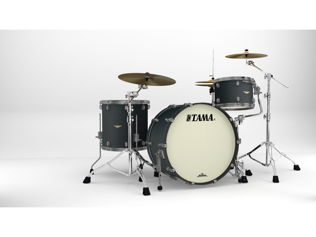 "Shell Set Tama Starclassic Maple MA34CZUS-FBK Flat Black, 24"", 13"", 16"", Smoked Zwart Nikkel Hardware"