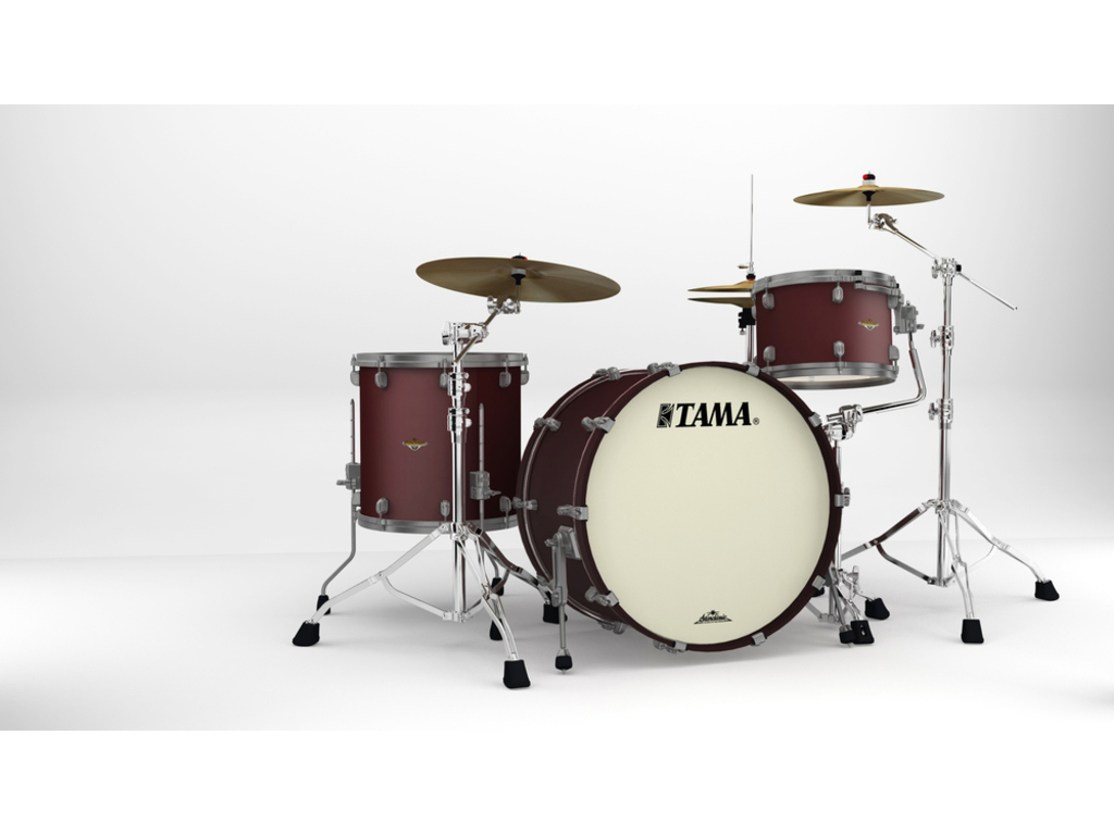 "Shell Set Tama Starclassic Maple MA34CZUS-FBM Flat Burgandy Metallic, 24"", 13"", 16"", Smoked Zwart Nikkel Hardware"