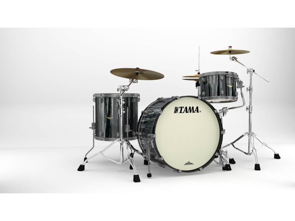 "Shell Set Tama Starclassic Maple MA34CZUS-BCS Black Clouds & Silver Linings, 24"", 13"", 16"", Smoked Zwart Nikkel Hardware"
