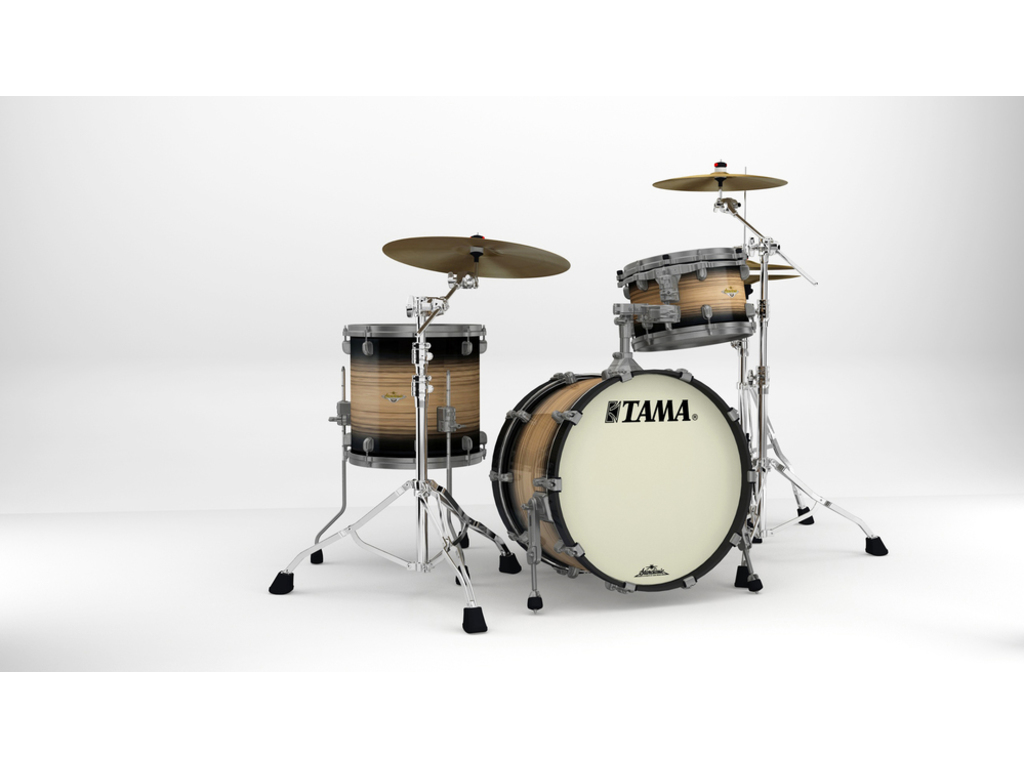 "Shell Set Tama Starclassic Maple ME30CMUS-LNWB Natural Pacific Walnut Burst, 20"", 12"", 14"", Smoked Zwart Nikkel Hardware"