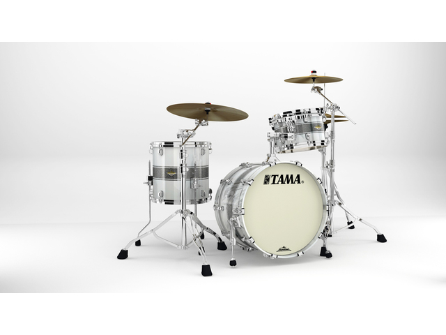 "Shell Set Tama Starclassic Maple MA30CMS-SSR Silver Snow Racing Stripe, 20"", 12"", 14"", Chrome Hardware"