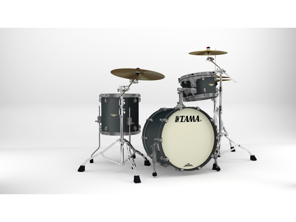 "Shell Set Tama Starclassic Maple MA30CMUS-FBK Flat Black, 20"", 12"", 14"", Smoked Zwart Nikkel Hardware"