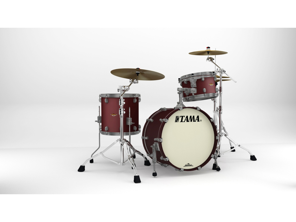 "Shell Set Tama Starclassic Maple MA30CMUS-FBM Flat Burgandy Metallic, 20"", 12"", 14"", Smoked Zwart Nikkel Hardware"