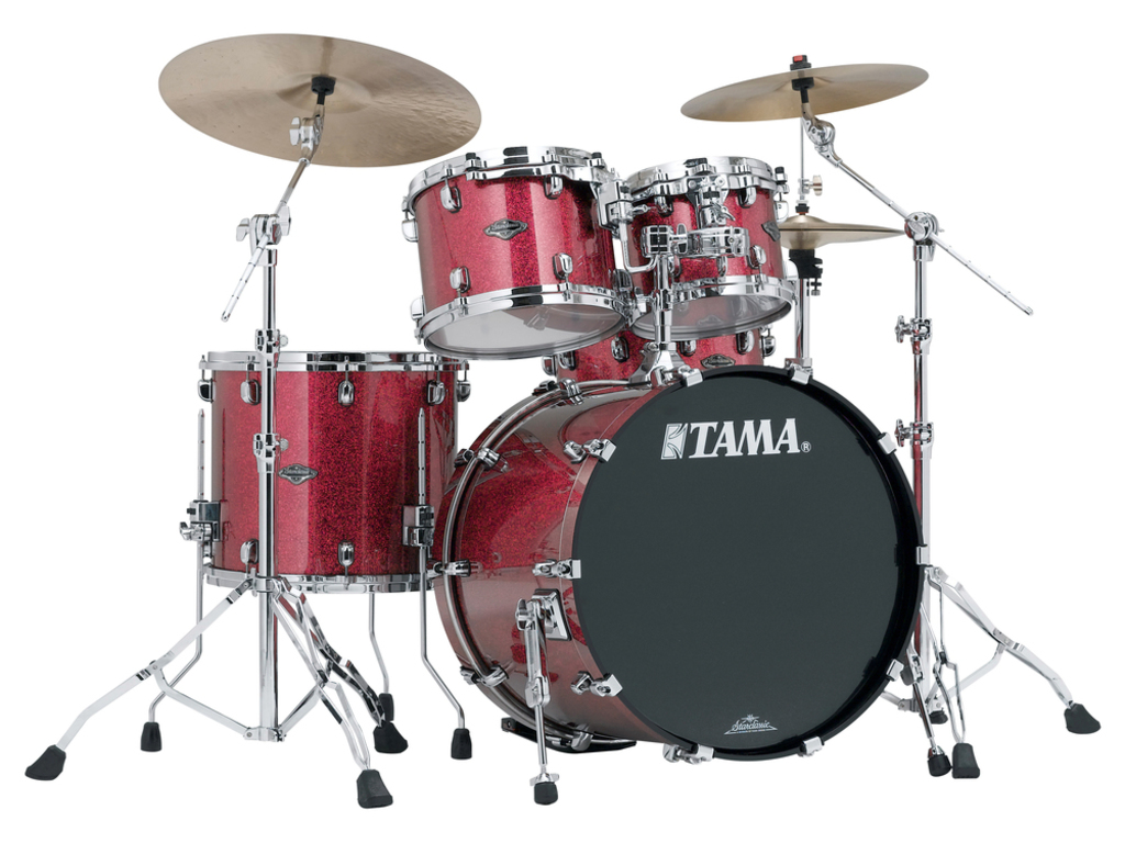 "Shell Set Tama Starclassic Performer B/B PP42S-CRD Coral Red Sparkle, 22"", 10"", 12"", 16"", MTH1000 Tom Houder"