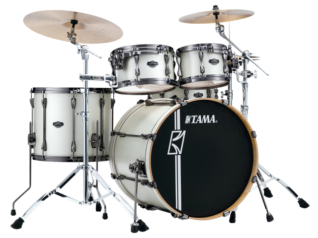 "Shell Set Tama Superstar Hyper-Drive Maple ML42HLZBNS-SAP Satin Arctic Pearl, 22"", 10"", 12"", 16"", MC69 Tom Houder"