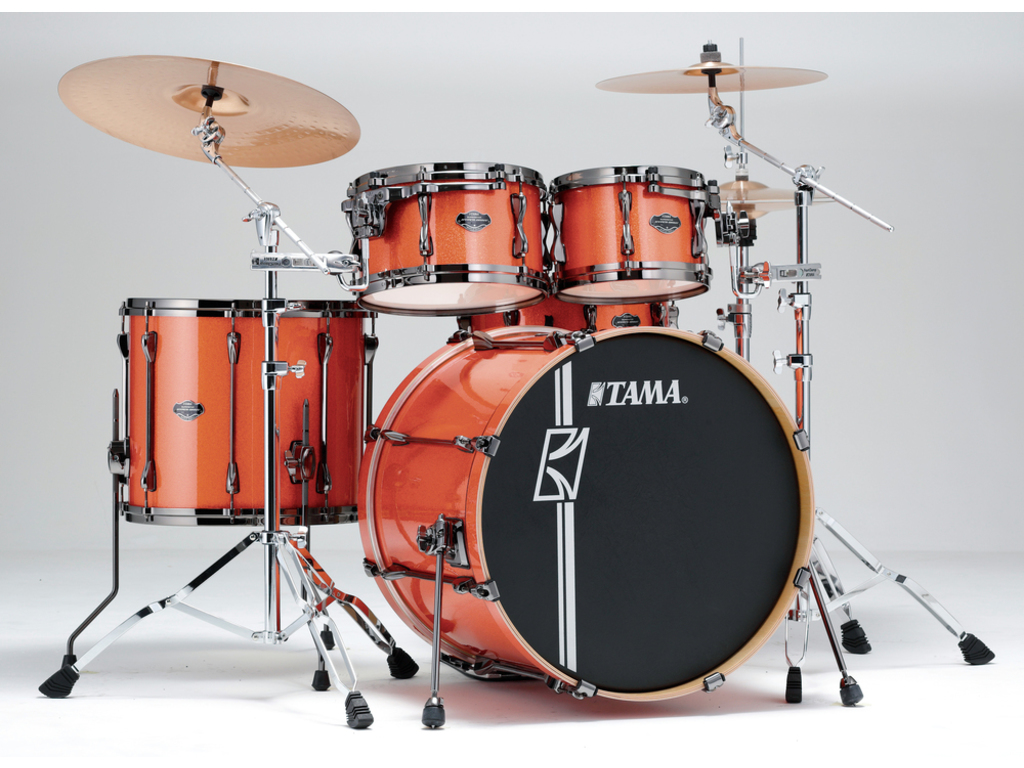 "Shell Set Tama Superstar Hyper-Drive Maple MK42HLZBNS-BOS Bright Orange Sparkle, 22"", 10"", 12"", 16"", MC69 Tom Houder"