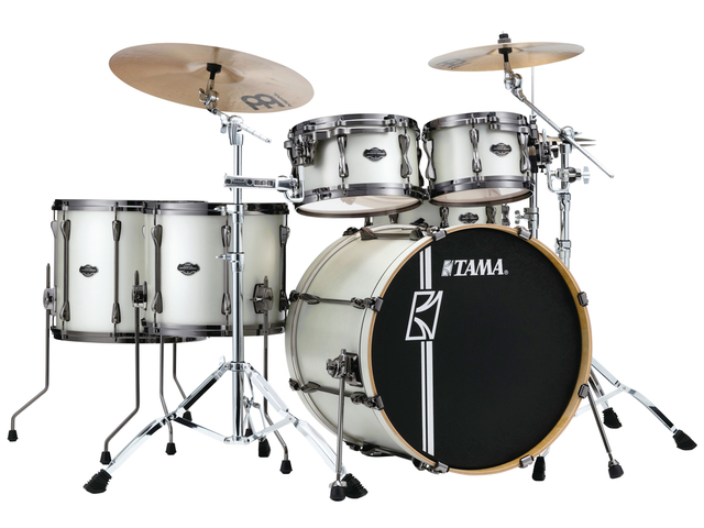"Shell Set Tama Superstar Hyper-Drive Maple ML52HLZBNS-SAP Satin Arctic Pearl, 22"", 10"", 12"", 14"", 16"", MC69 Tom Houder"
