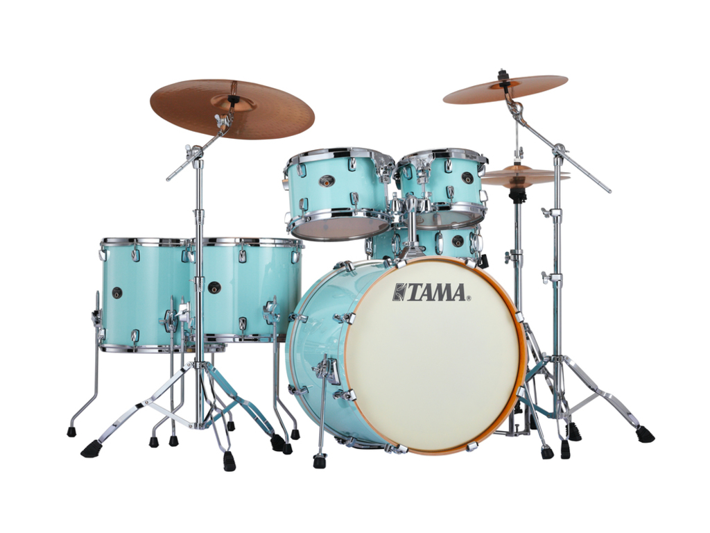 "Shell Set Tama Silverstar VP62RS-LBL Light Blue Lacquer, 22"", 10"", 12"",14"", 16"", 14"", Tom houder MTH905N"