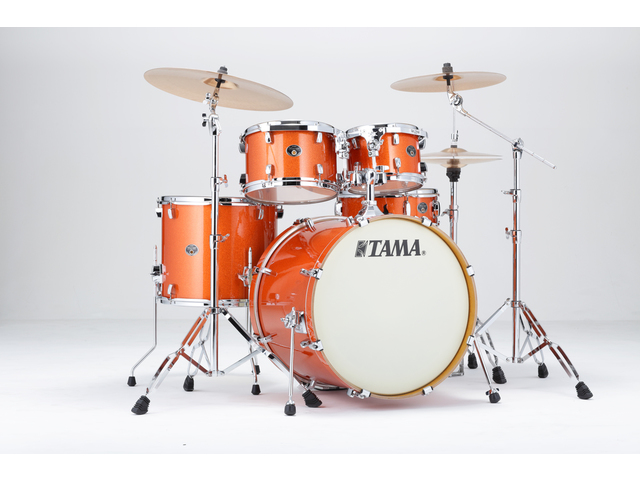 "Shell Set Tama Silverstar VD52KRS-BOS Bright Orange Sparkle, 22"", 10"", 12"", 16"", 14"", Tom houder MTH905N"