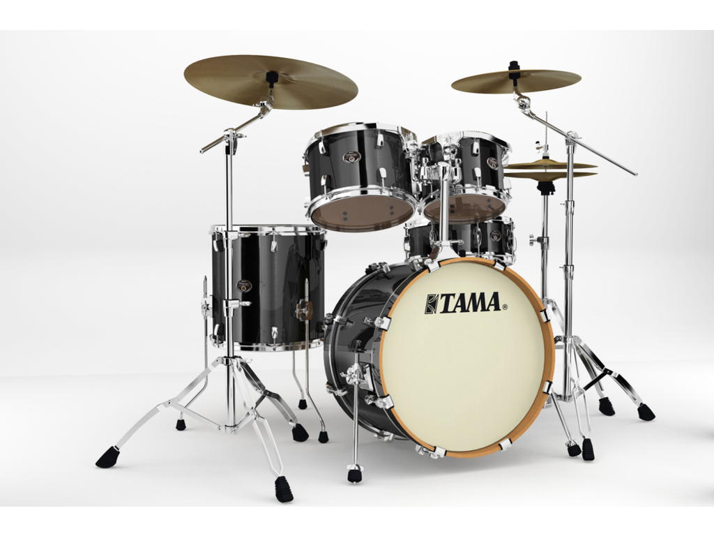 "Shell Set Tama Silverstar VD50RS-BCB Brushed Charcoal Black, 20"", 10"", 12"", 14"", 14"", Tom houder MTH905N"