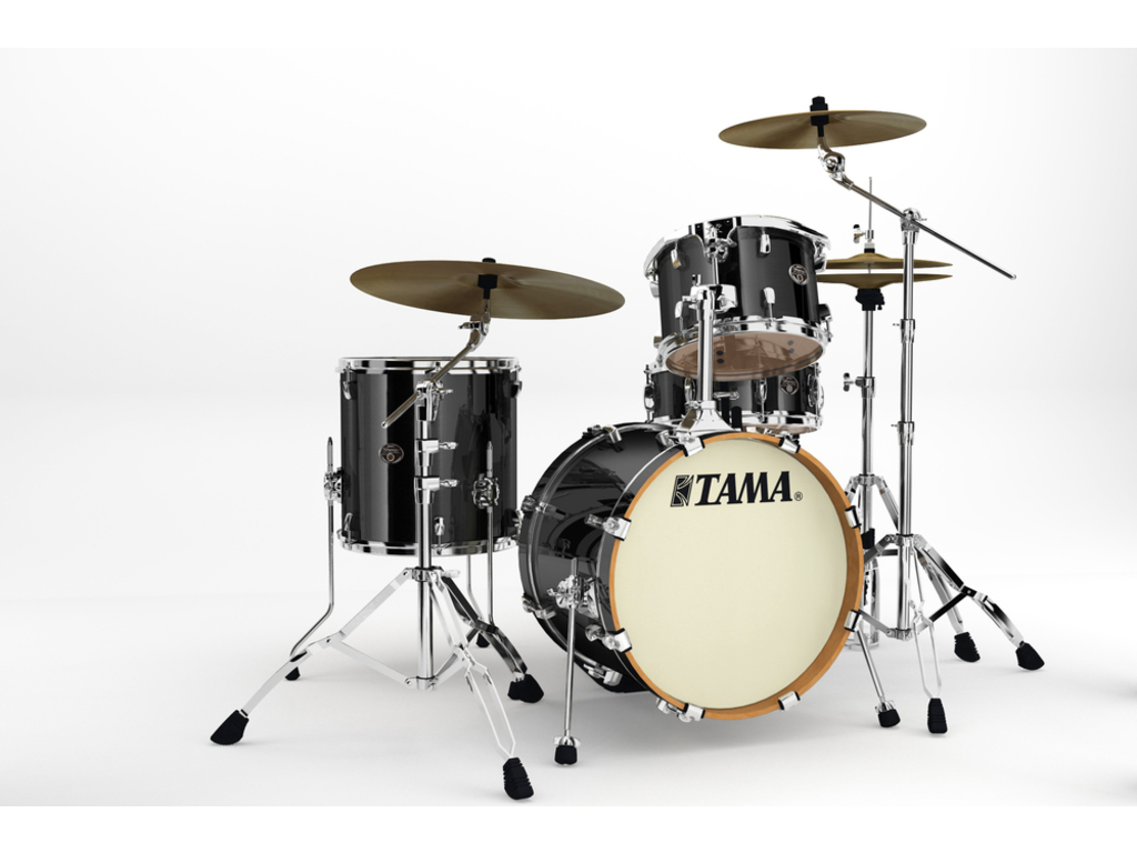 "Shell Set Tama Silverstar VD48S-BCB Brushed Charcoal Black, 18"", 12"", 14"", 14"", Tom houder MTH900BM"