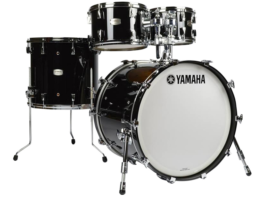 "Shell Set Yamaha Absolute Hybrid Maple JAMFUSIONSOB Solid Black, 20"", 10"", 12"", 14"""