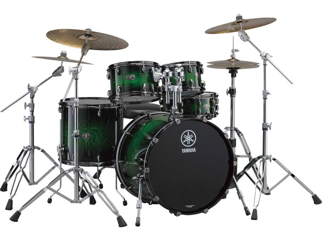 "Shell Set Yamaha Live Custom JLCFUSIONEWS Emerald Shadow Sunburst, 20"", 10"", 12"", 14"""