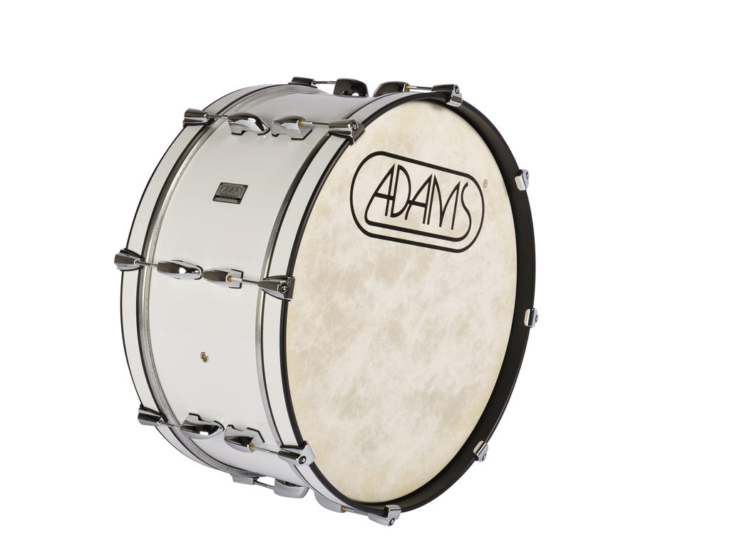 "Bassdrum Adams 2410WWP, 24""x10"" Wood, White Parade Line"