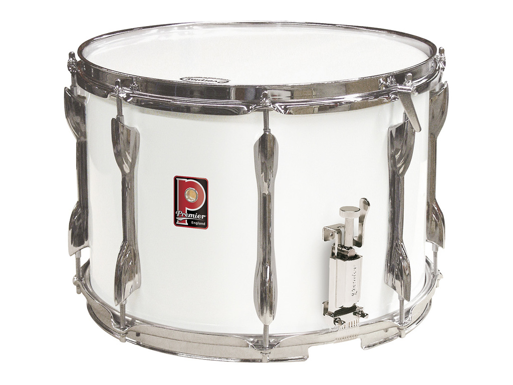 "Snaredrum Premier 2074, 14"" x 10"" wood shell with parallel mechaniek, wit"