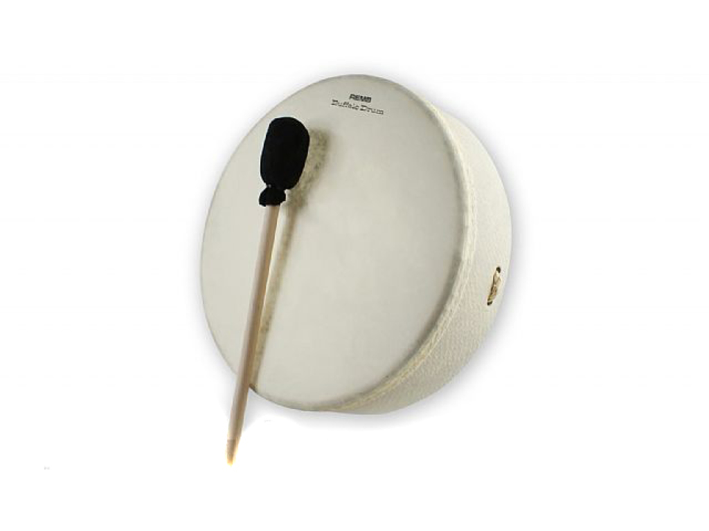 Buffalo drum Remo E1-0312-00, with handgrip and wooden beater, white, 12""