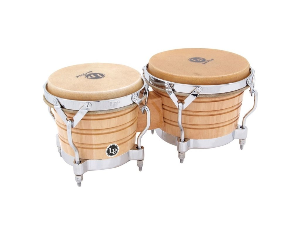 "Bongo LP 201A-2, Generation II Serie, Hout, Grootte 7 1/4""+ 8 5/8"", Traditionele Rims, Chroom hardware, Naturel"