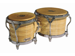 "Bongo LP 201A-3, Generation III Serie, Hout, Grootte 7 1/4""+ 9"", Traditionele Rims, Chroom Hardware, Naturel"
