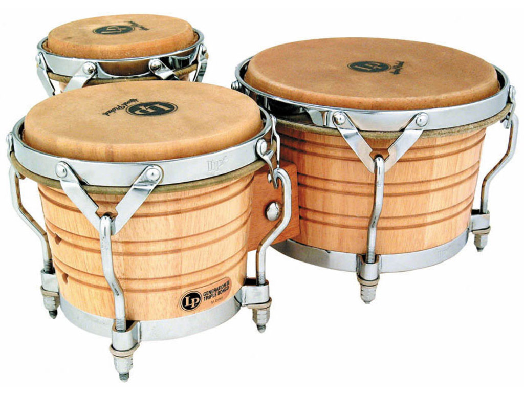 "Bongo LP 202AW, Generation III Serie, Triple Bongos, Grootte 5.5"", 7.25"" en 9"", Traditionele Rims, Chroom hardware, Naturel"