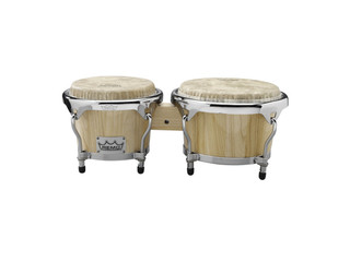 "Bongo Remo CR-P780-00, Crown Percussion Serie, Hout, 7"" + 8 1/2"", Remo Fiberksyn Vellen, Chroom Hardware, Naturel"