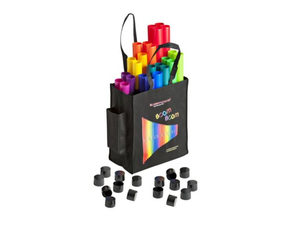 Boomwhackers BW-SET04, 28 tubes 2 octaafsets in carrying bag 3xC, 1xCis, 3xD, 1xDis, 3xE, 2xF, 2xFis, 3xG, 1xGis, 3xA, 2xB, 2xBb