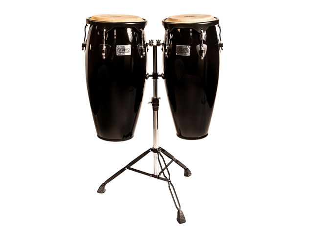 "Conga set Adams STC-B BK/D, Supremo Set Black, 10"" + 11"", inclusief dubbel stand"