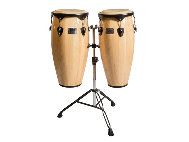"Conga set Adams STC-B N/D, Supremo Set Natural, 10"" + 11"", inclusief dubbel stand"