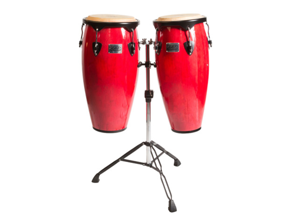 "Conga set Adams STC-B R/D, Supremo Set Red, 10"" + 11"", inclusief dubbel stand"