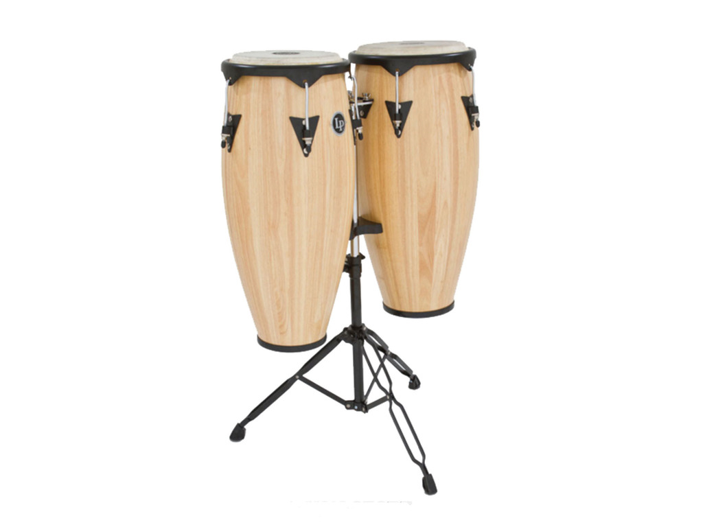 "Conga set LP646NY-AW, LP City Wood Serie, 10"" + 11"", 2 Ply Siam Eiken, Zwart Coated Hardware, met stand, Naturel"