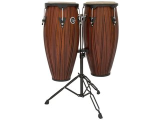 "Conga set LP646NY-CMW, LP City Wood Serie, 10"" + 11"", 2 Ply Siam Eiken, Zwart Coated Hardware, met stand, Carved Mango"