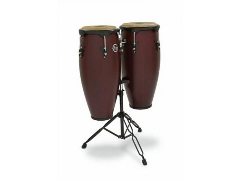 "Conga set LP646NY-DW, LP City Wood Serie, 10"" + 11"", 2 Ply Siam Eiken, Zwart Coated Hardware, met stand, Donker Hout"