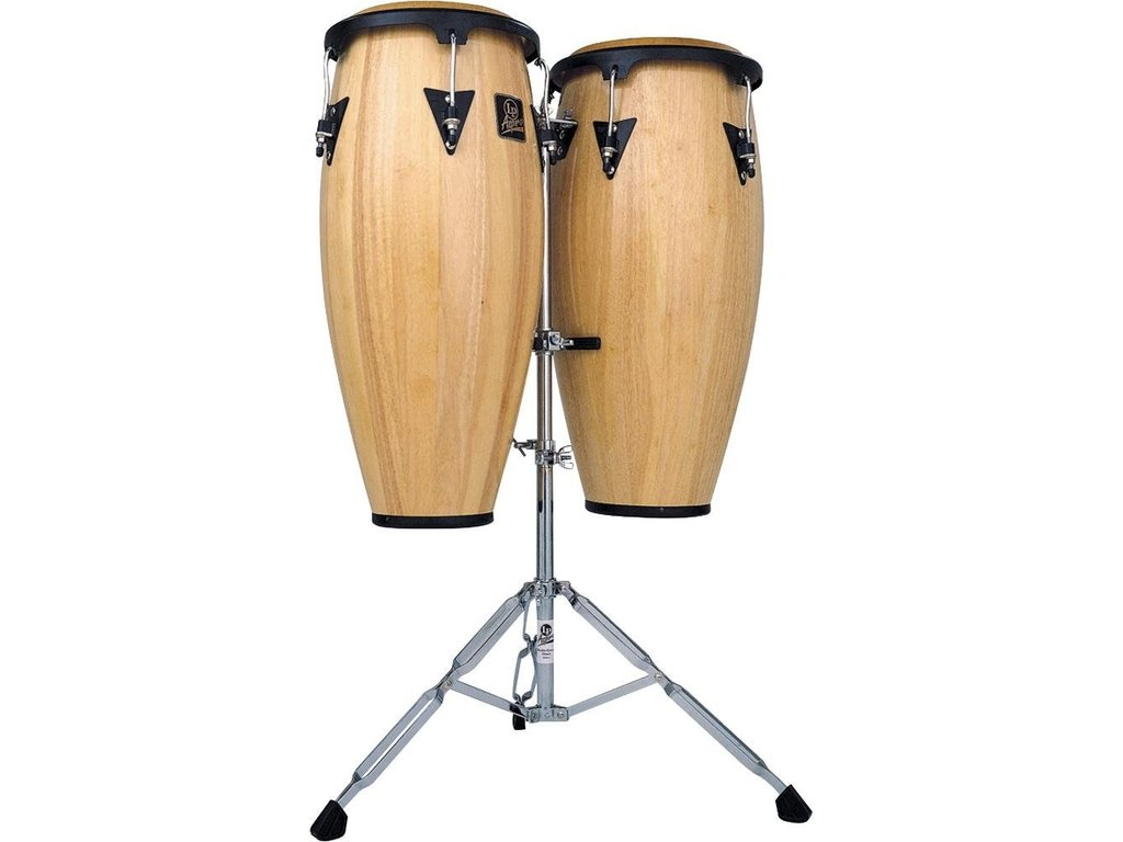 "Conga set LPA647-AW, LP Aspire Serie, 11"" + 12"", 2 Ply Siam Eiken, Zwart Coated Hardware, met stand, Naturel"