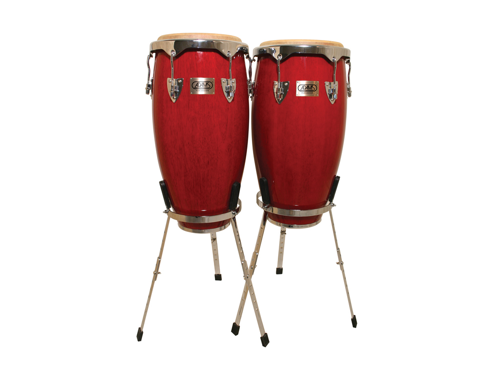 "Conga set Adams TC901/C RS, Universel Serie, 10"" + 11"", Chrome rims, Red, single chrome stand"