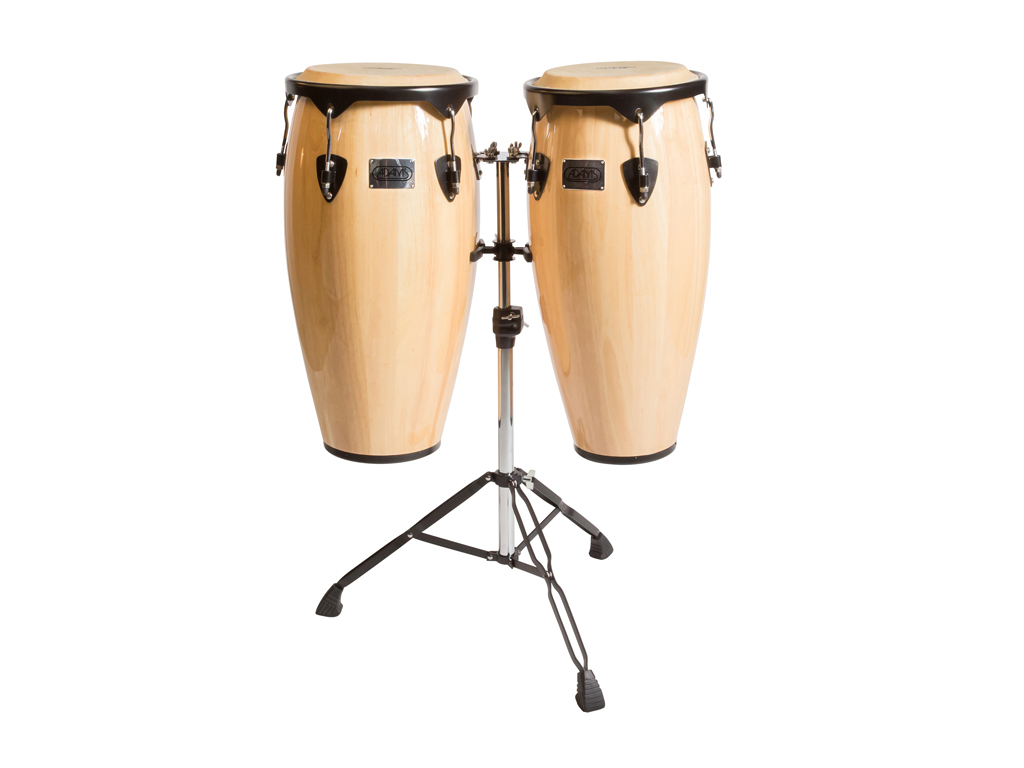 "Conga set Adams TC91/B ND, Universel Serie, 10"" + 11"", Black rims, Natural, Dubbel stand"