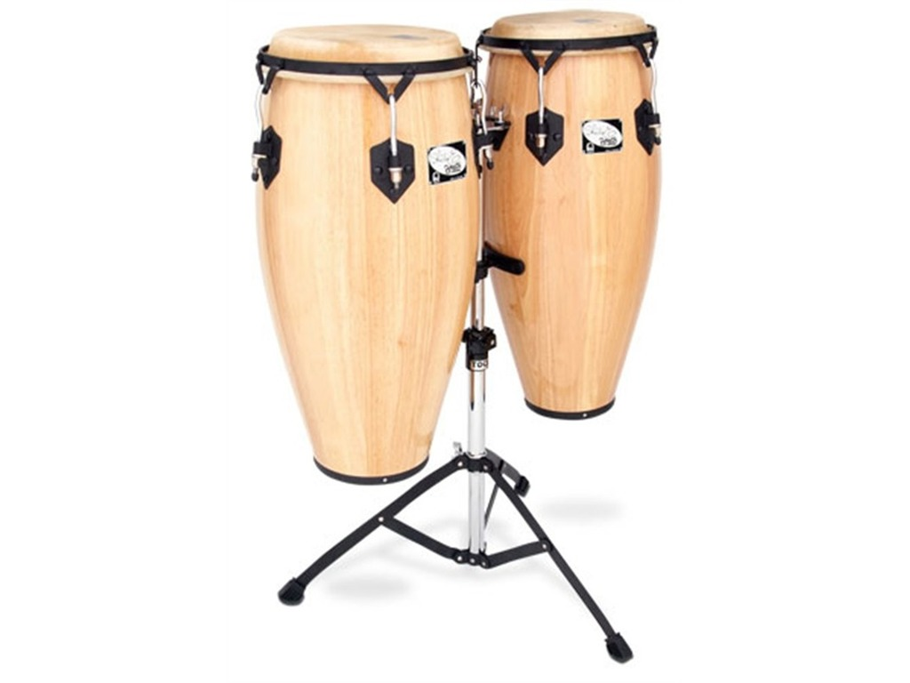 "Conga set Toca 2800-SEN, Sheila E. Player's Serie, 10"" + 11"", 2 Ply Eiken, Zwart Coated Hardware, met stand, Naturel"