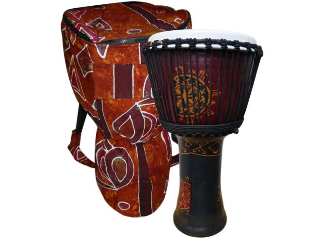 "Djembe GO Percussion GO-ESPVC12, Fibreglass Serie, 14"", Hoogte 26"", Glasvezel, Rope Tuned, Inclusief Hoes"