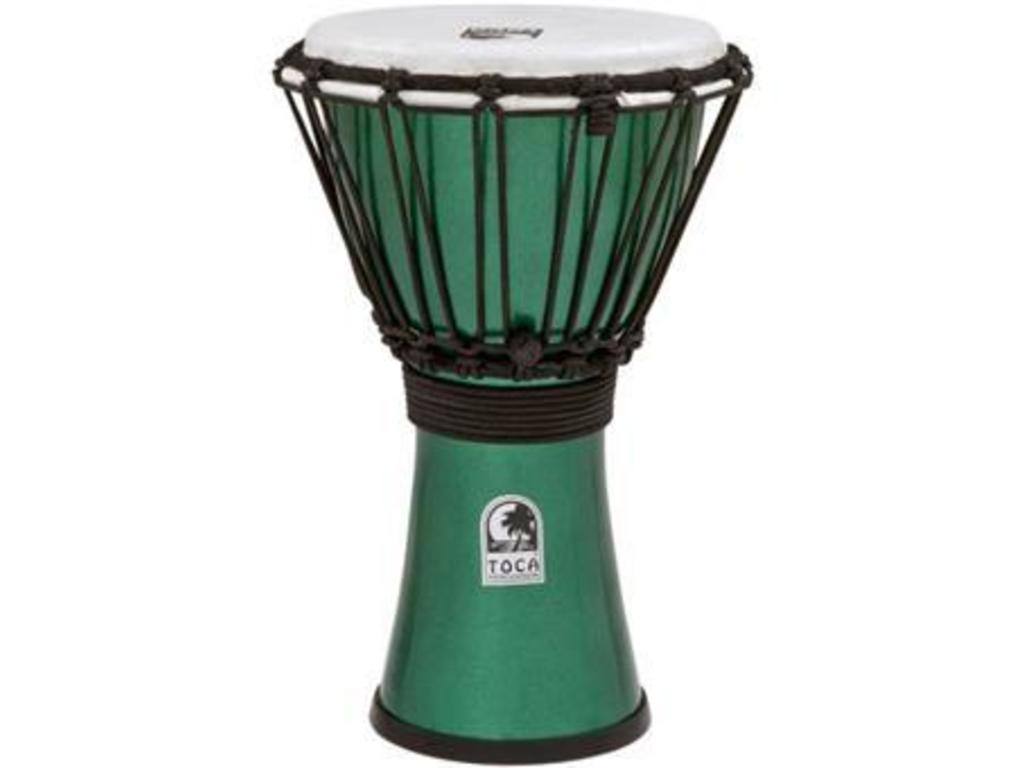 "Djembe Toca Percussion TFCDJ-7MG, Freestyle Serie, Colorsound, 7"", Hoogte 12 1/2"", Synthetisch shell, Groen Metallic"