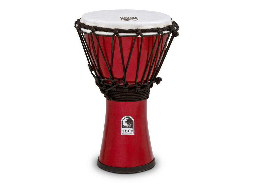 "Djembe Toca Percussion TFCDJ-7MR, Freestyle Serie, Colorsound, 7"", Hoogte 12 1/2"", Synthetisch shell, Rood Metallic"