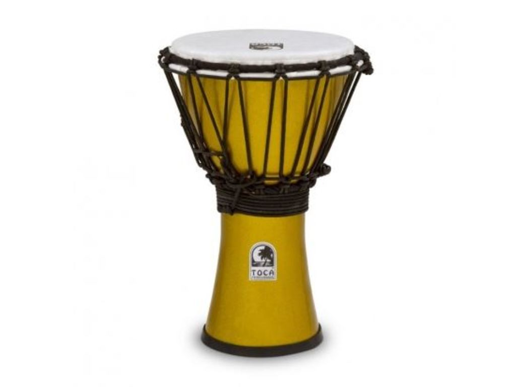 "Djembe Toca Percussion TFCDJ-7MY, Freestyle Serie, Colorsound, 7"", Hoogte 12 1/2"", Synthetisch shell, Geel Metallic"