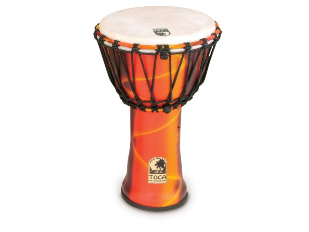 "Djembe Toca Percussion SFDJ-9F, Freestyle Serie, 9"", Hoogte 16 1/2"", Synthetische Shell, Rope Tuned, Fiesta"
